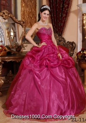 Popular Organza Sweetheart Quinceanera Dress with Beading and Pick-ups
