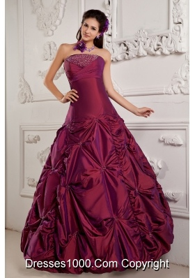 Princess Strapless Quinceanera Dresses with Beading and Pick-ups