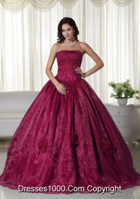 Princess Sweetheart Beaded Burgundy Quinceaneras Dress with Pick-ups