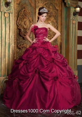 Strapless Quinceanera Gowns Dress with Hand Made Flowers and Beading