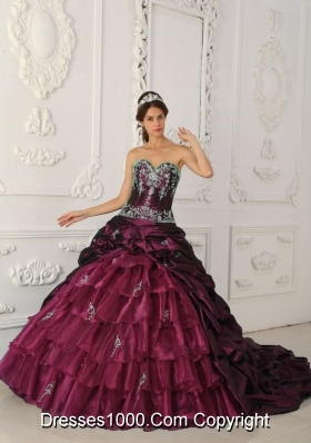 Sweetheart Chapel Train Burgundy Quinceanera Dress with Appliques and Layers