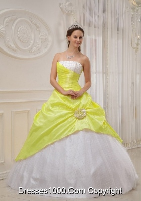 Yellow Strapless Quinceaneras Dress with Beading and Flowers