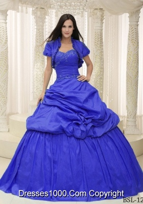 2014 Beautiful Sweetheart Lace Appliques For Quinceanera Dresses with Pick-ups