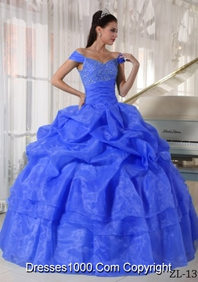 2014 Blue Puffy Off The Shoulder with Beading Quinceanera Dresses