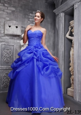 2014 Classical Puffy Sweethrart Beading and Ruching Quinceanera Dresses