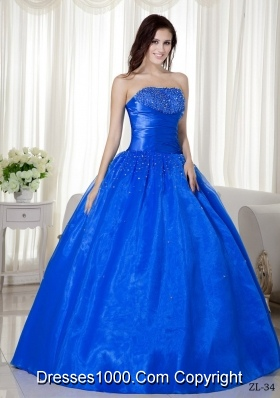 2014 Modest Puffy Strapless with Beading Quinceanera Dresses