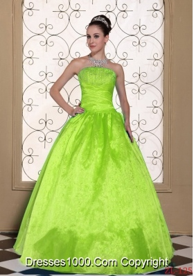 A-line Strapless Cheap Quinceanera Dresses Beaded Decorate Bust Gown