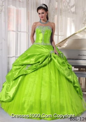 Appliques Ball Gown Floor-length Quinceanera Dresses With Strapless