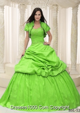 Beautiful Sweetheart Appliques For Quinceanera Dresses in Spring Green