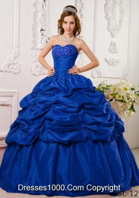 Blue Puffy Sweetheart for 2014 Appliques Quinceanera Dress with Pick-ups