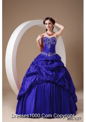 Discount Puffy Strapless for 2014 Appliques Quinceanera Dresses