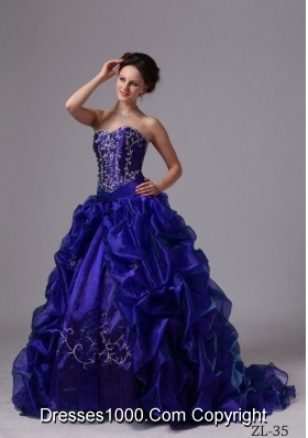 Embroidery and Pick-ups Sweep Train Quinceanera Dress For 2014