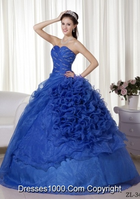 Fashionable Puffy Sweetheart with Beading and Ruching Quinceanera Dress for 2014