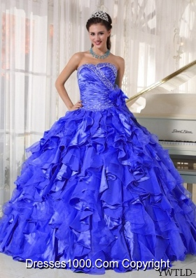 Gorgeous Puffy Sweetheart with Ruffles and Beading Quinceanera Dress for 2014