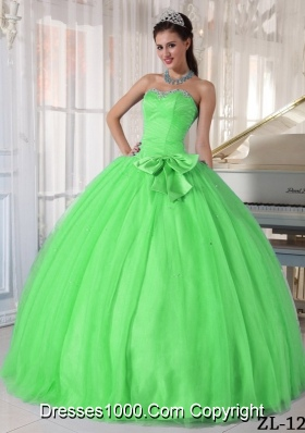 Green Puffy Sweetheart Quinceanera Dresses with Beading and Bowknot