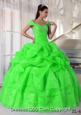 Pretty Off The Shoulder Beading 2014 Spring Green Quinceanera Dresses