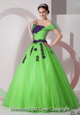 Pretty Princess Off The Shoulder Appliques Sweet 16 Dresses