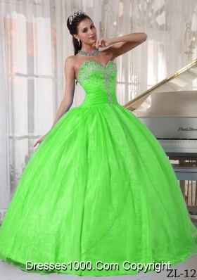 Pretty Spring Green Sweetheart Appliques Puffy Quinceanera Dresses