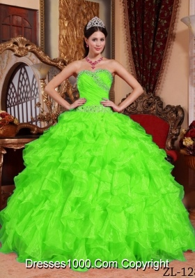 Pretty Sweetheart Beading Puffy Long Quinceanera Dresses in Spring Green