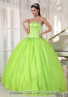 Puffy Strapless Appliques 2014 Dresses For a Quinceanera