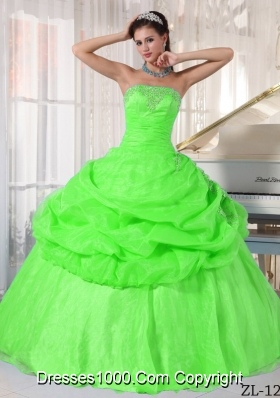 Puffy Strapless Long Elegant Quinceanera Gowns with Appliques