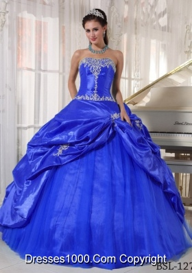 Puffy Strapless with Pick-ups and Appliques for 2014 Quinceanera Dress