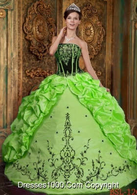 Spring Green Strapless Embroidery Best Seller Quinceanera Dresses for Military Ball