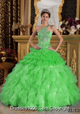 2014 Ball Gown Spring Green One Shoulder Ball Gown with Beading