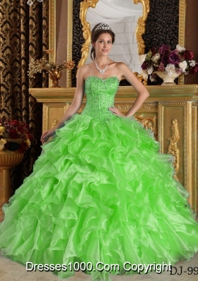2014 Beautiful Puffy Sweetheart Organza Quinceanera Gowns with Ruffles