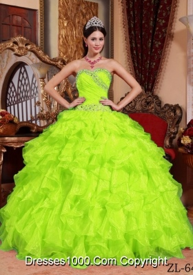 2014 New Style Sweetheart Organza Beading PuffyQuinceanera Gowns
