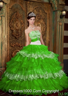 2014 Pretty Strapless Organza and Zebra Spring Green Quinceanera Dress with Ruffles