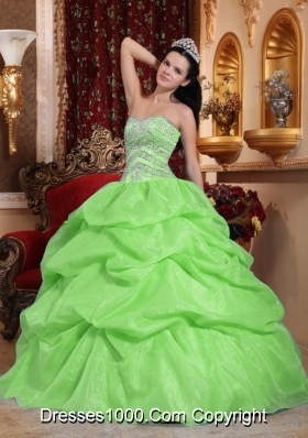 2014 Simple Beading Puffy Quinceanera Dresses with Sweetheart