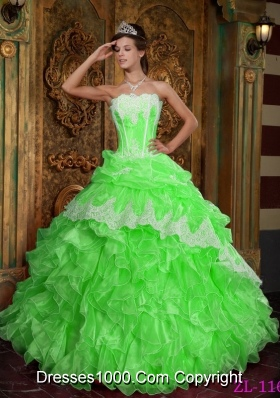 2014 Spring Puffy Strapless Ruffles Pretty Quinceanera Dresses in Spring Green