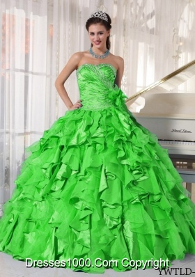 2014 Spring Puffy Sweetheart Beading Spring Green Quinceanera Gown
