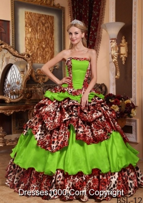 2014 Uniques Ball Gown Strapless Taffeta and Leopard Quinceanera Gowns