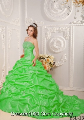 Appliques and Beading Strapless Spring Green Quinceanera Gowns with Court Train