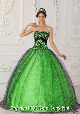 Beading and Appliques Strapless Taffeta and Tulle Puffy Quinceanera Dresses