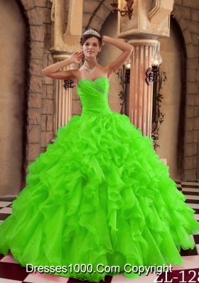 Beautiful Ball Gown Sweetheart Ruffles Quinceanera Dress in Spring Green