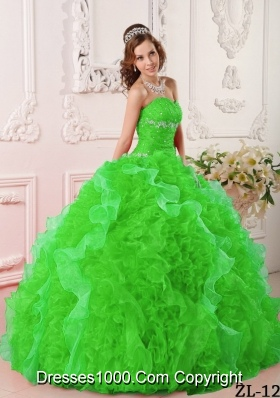 Beautiful Puffy Sweetheart Appliques and Beading 2014 Spring Quinceanera Dresses