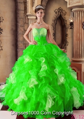 Beautiful Spring Green Strapless Beading Quinceanera Dresses for 2014 Spring