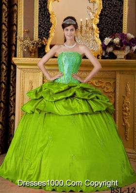 Cheap Ball Gown Strapless Appliques Long 2014 Quinceanera Dresses