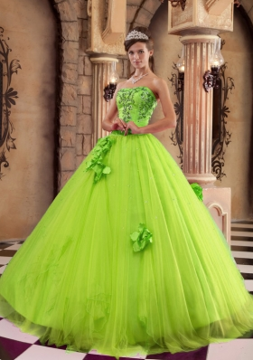 Cute Princess Strapless Beading 2014 Quinceanera Dresses in Spring Green