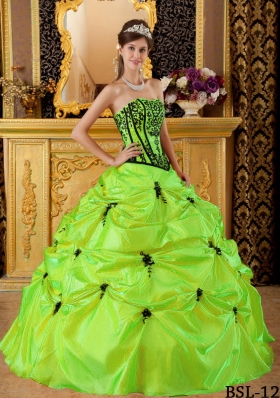 Cute Strapless Long Embroidery 2014 Puffy Quinceanera Dresses