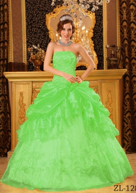 Pretty Spring Green Princess Strapless Appliques Sweet 15 Dresses