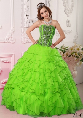 Pretty Spring Green Puffy Sweetheart Beading Quinceanera Dress