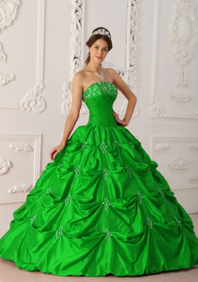 Princess Appliques Strapless 2014 Quinceanera Dresses with Beading