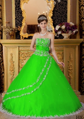 Princess Strapless Lace Appliques Quinceanera Dresses in Spring Green