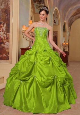 Puffy Strapless Quinceanera Dresses with Beading and Embroidery