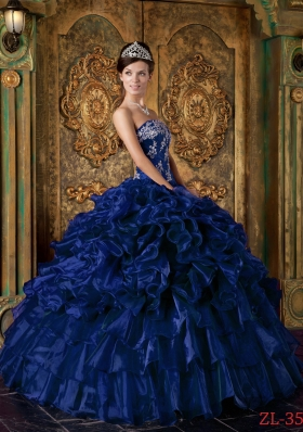 Romantic Dark Blue Puffy Strapless Ruffles Quinceanera Dresses