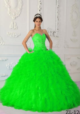 Spring Green Ball Gown Beading Long Quinceanera Dresses with Sweetheart